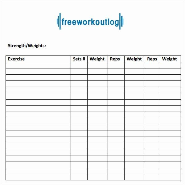 Workout Plan Template Word Inspirational 9 Workout Log Templates
