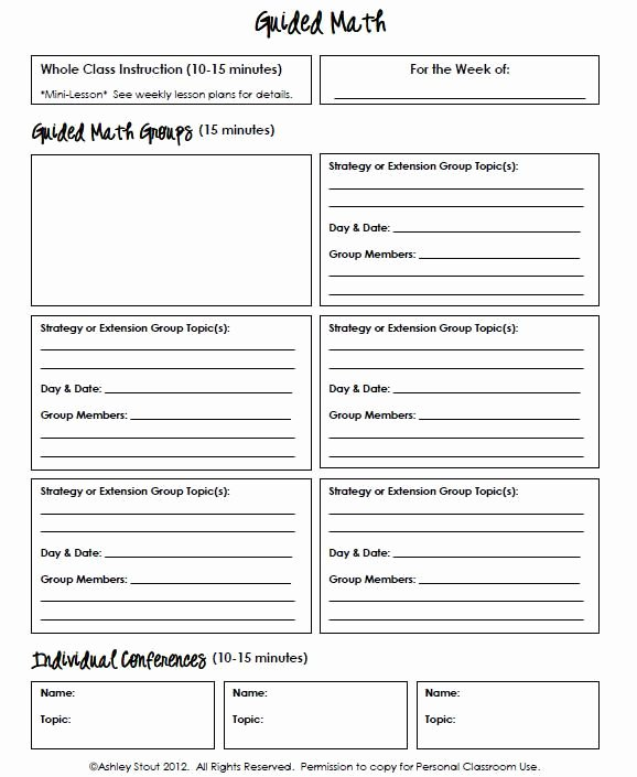 Workshop Model Lesson Plan Template Beautiful Guided Math Sheet I Am Thinking This Would Be Awesome In