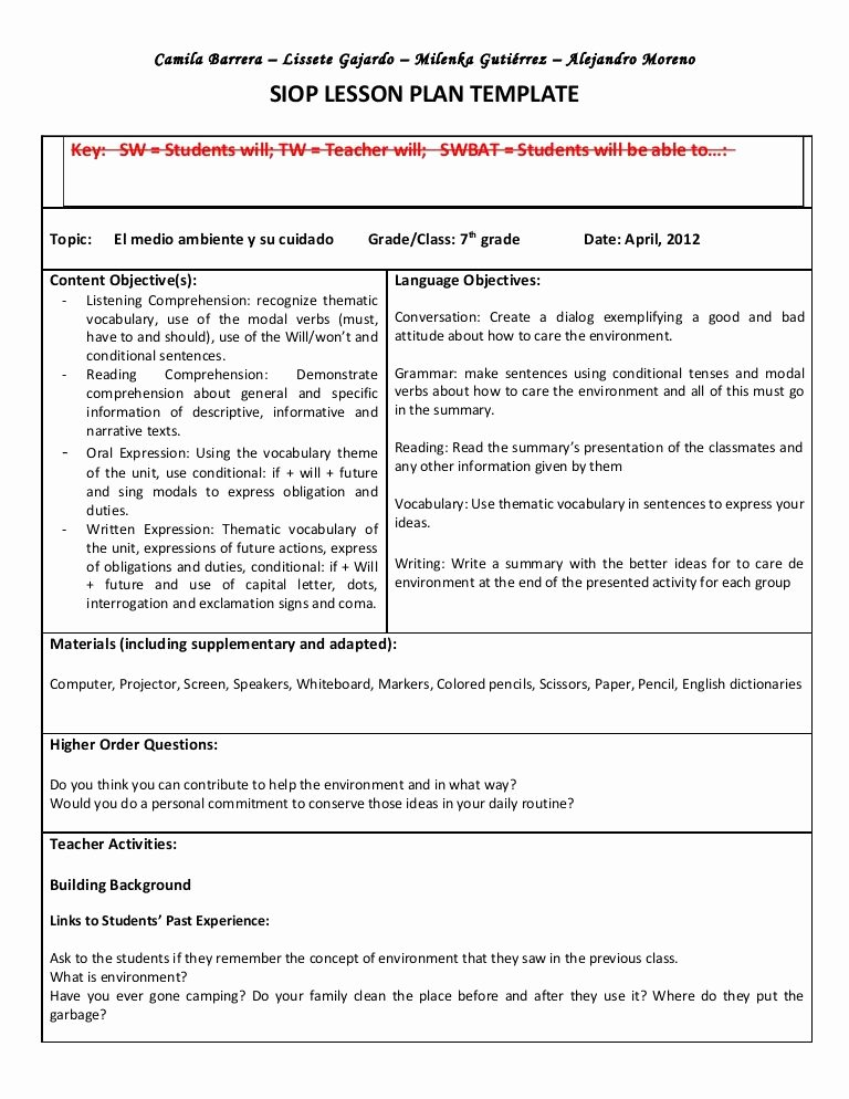 Workshop Model Lesson Plan Template Inspirational Siop Unit Lesson Plan Template Sei Model
