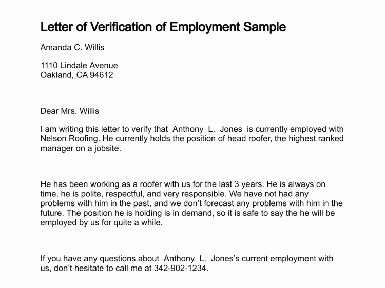 Writing A Certified Letter Lovely Printable Sample Letter Employment Verification form