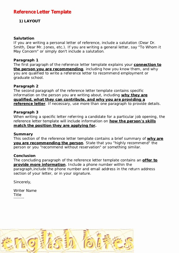 Writing A Personal Letter format Elegant Reference Letter Template
