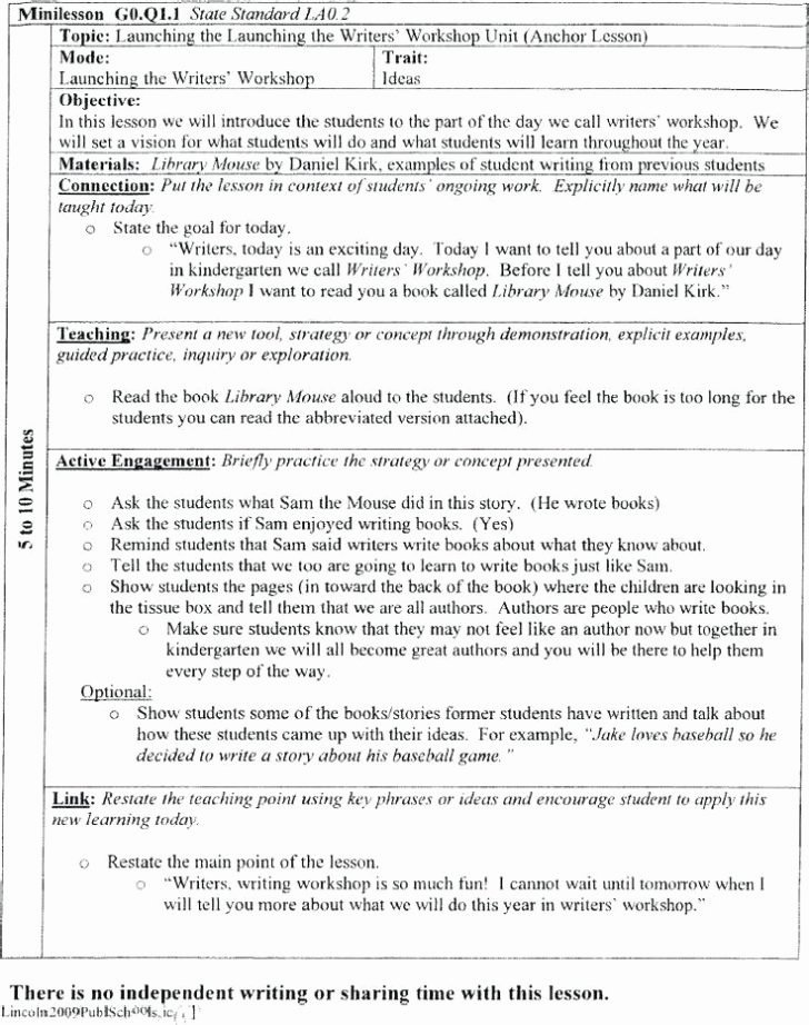 Writing Lesson Plan Template Lovely Lucy Calkins Writing Workshop Lesson Plan Template