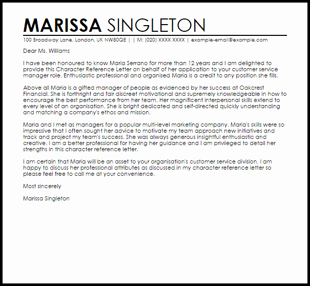 Writing Your Own Recommendation Letter Luxury Character Reference Letter Example