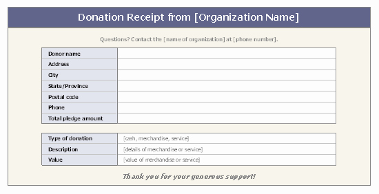 Year End Donation Receipt Template Unique Donation Receipt